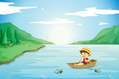 15667585-illustration-of-a-boy-rowing-in-a-boat-in-nature-Stock-Vector-lake